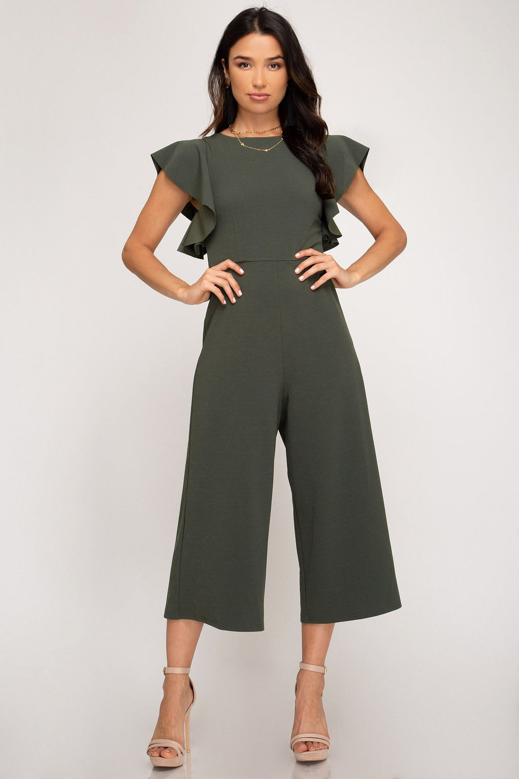 Say You Will Olive Jumpsuit - Caroline Hill