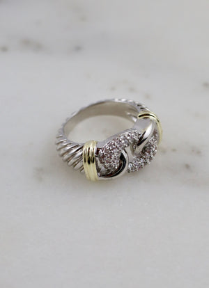 Schrute Cable Ring With Cz Link Silver - Caroline Hill