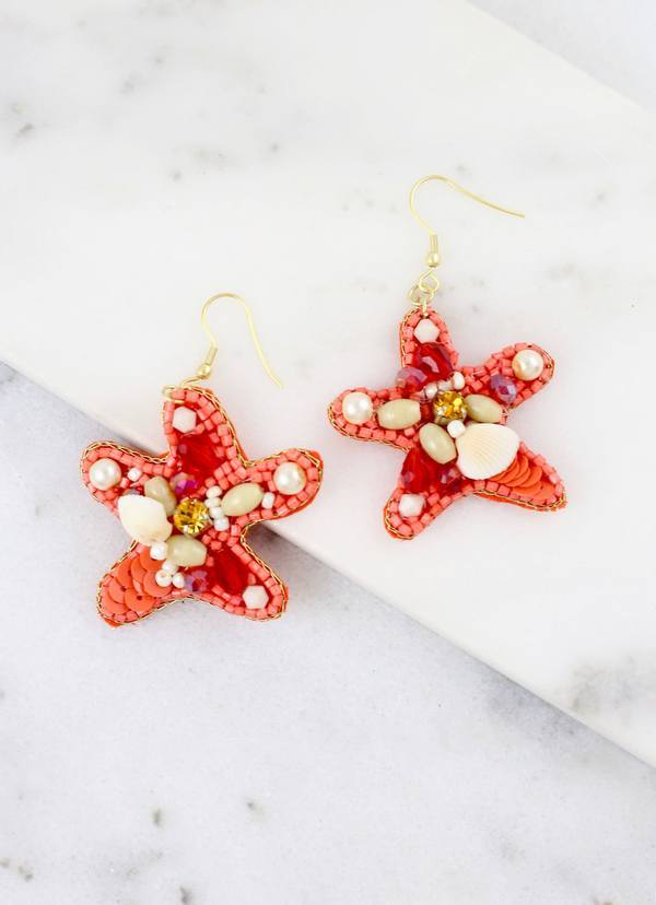 Scuba Coral Beaded Starfish Earring - Caroline Hill