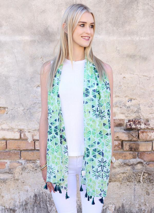 Seaside Printed Scarf With Tassels Green - Caroline Hill