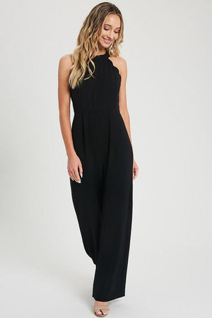Seeing Double Black Scalloped Jumpsuit - Caroline Hill