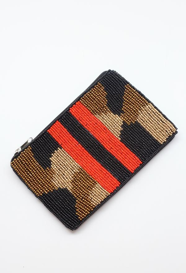 Serena Camo Stripe Coin Purse Red - Caroline Hill
