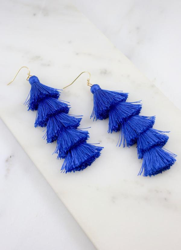 Sevena Thread Tassel Earring Blue - Caroline Hill
