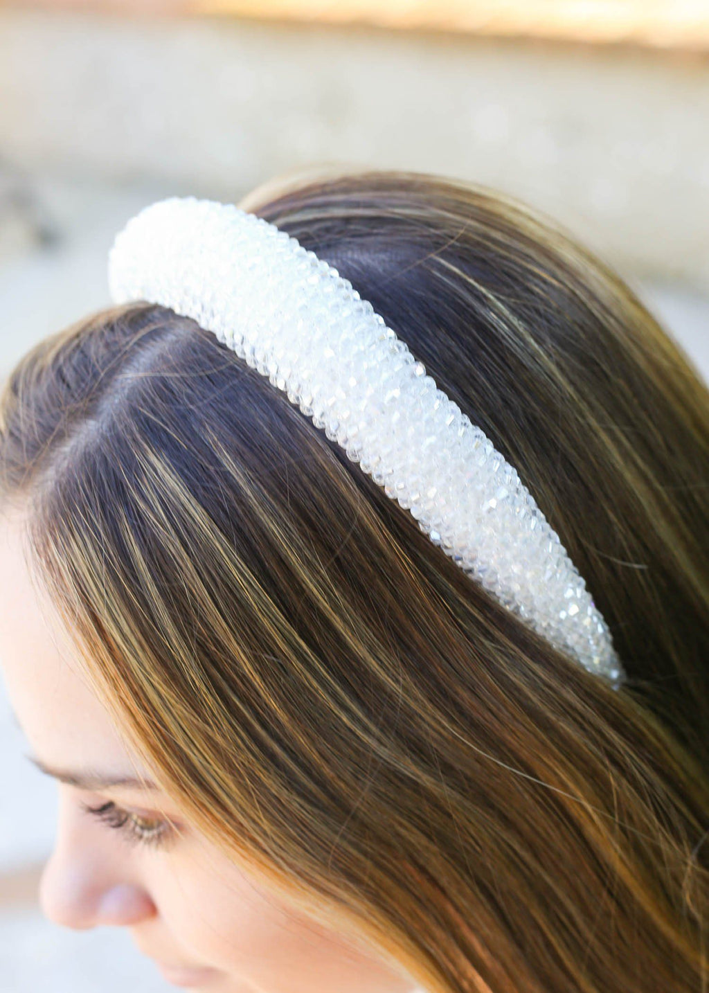 Sharpey White Crystal Headband - Caroline Hill