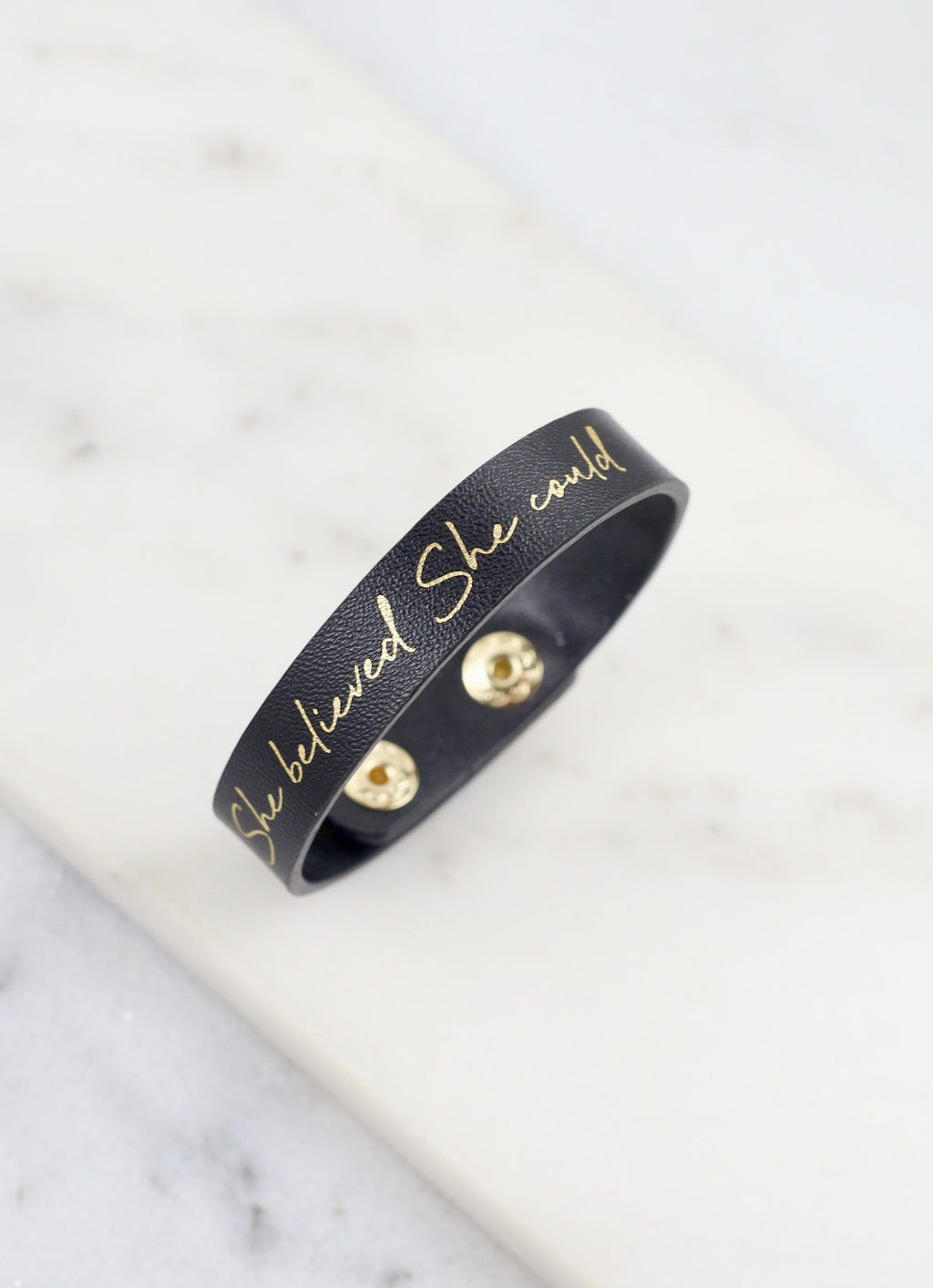 She Believed She Could Black Snap Bracelet - Caroline Hill