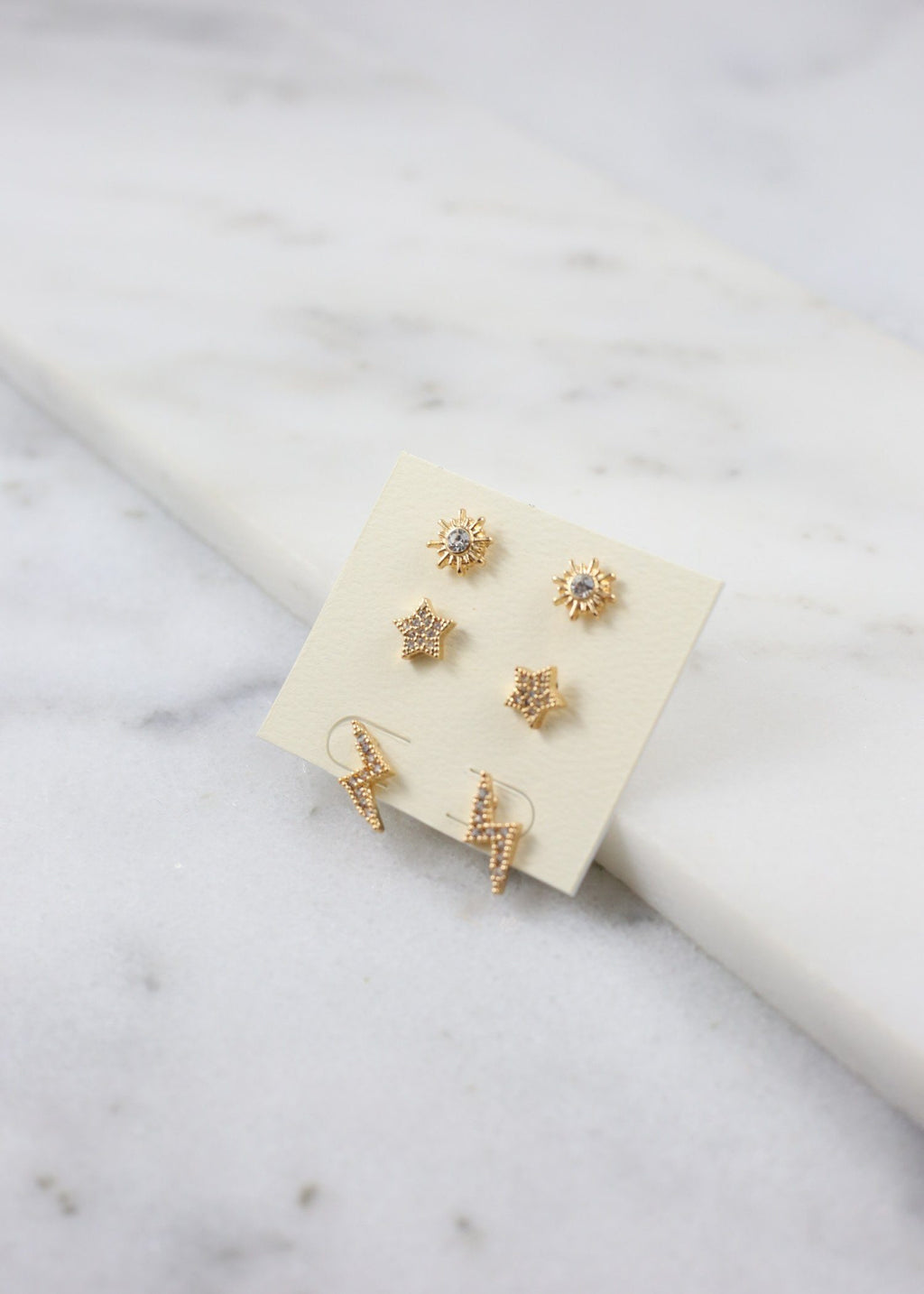 Shelly Set Of Three Cz Earrings Gold - Caroline Hill