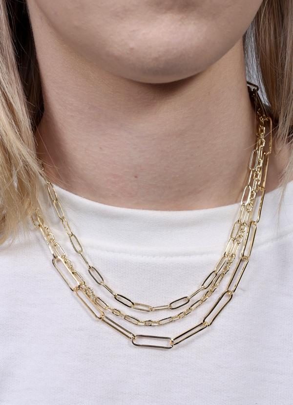 Shenae Layered Link Necklace Gold - Caroline Hill