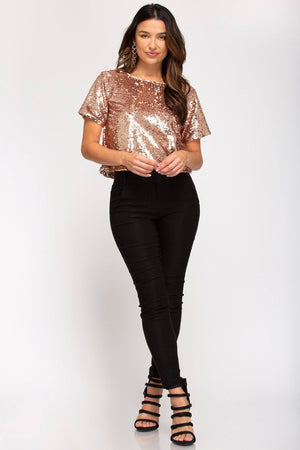 Shine Bright Sequin Crop Top - Caroline Hill