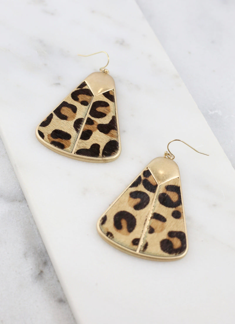 Shiver Triangle Shape Earring Brown Leopard - Caroline Hill