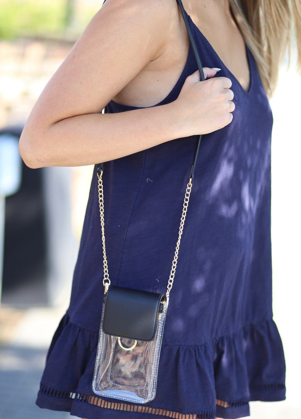 Sideline Clear Black Cell Phone Crossbody - Caroline Hill