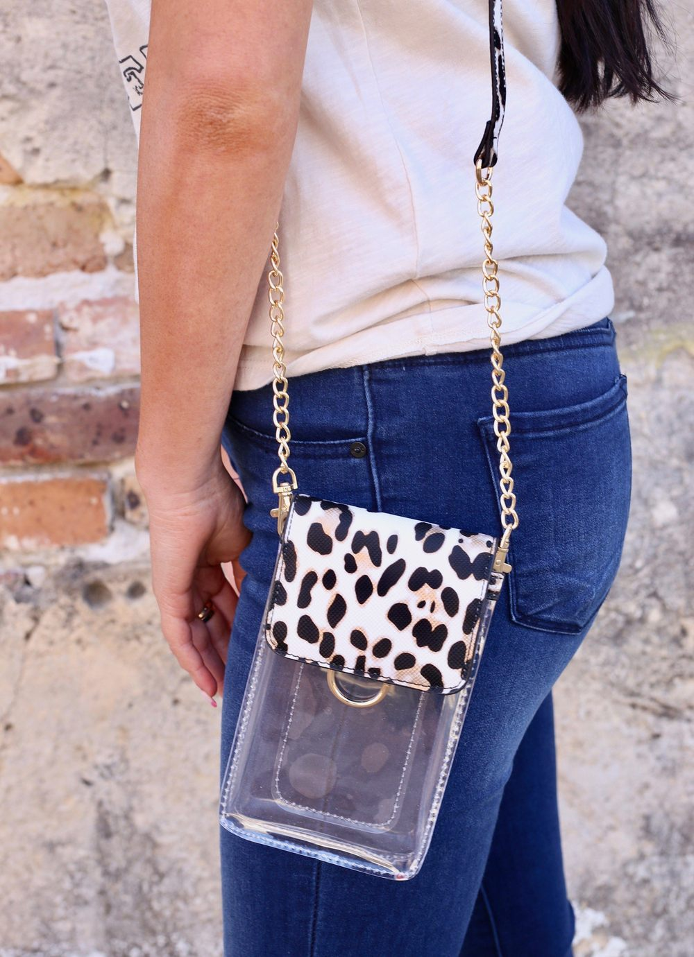 Sideline Ivory Leopard Clear Cell Phone Crossbody - Caroline Hill