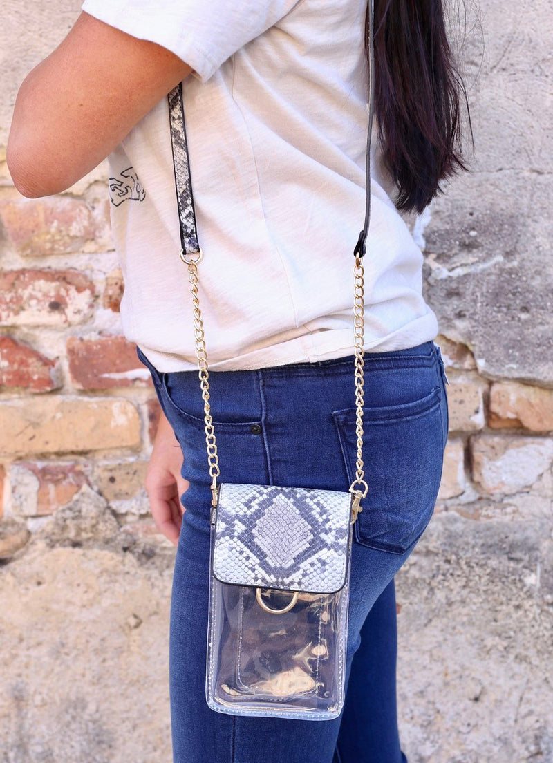 Sideline Snake Light Taupe Clear Cell Phone Crossbody - Caroline Hill