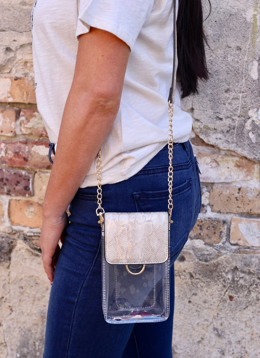 Sideline Snake Metallic Sand Clear Cell Phone Crossbody - Caroline Hill