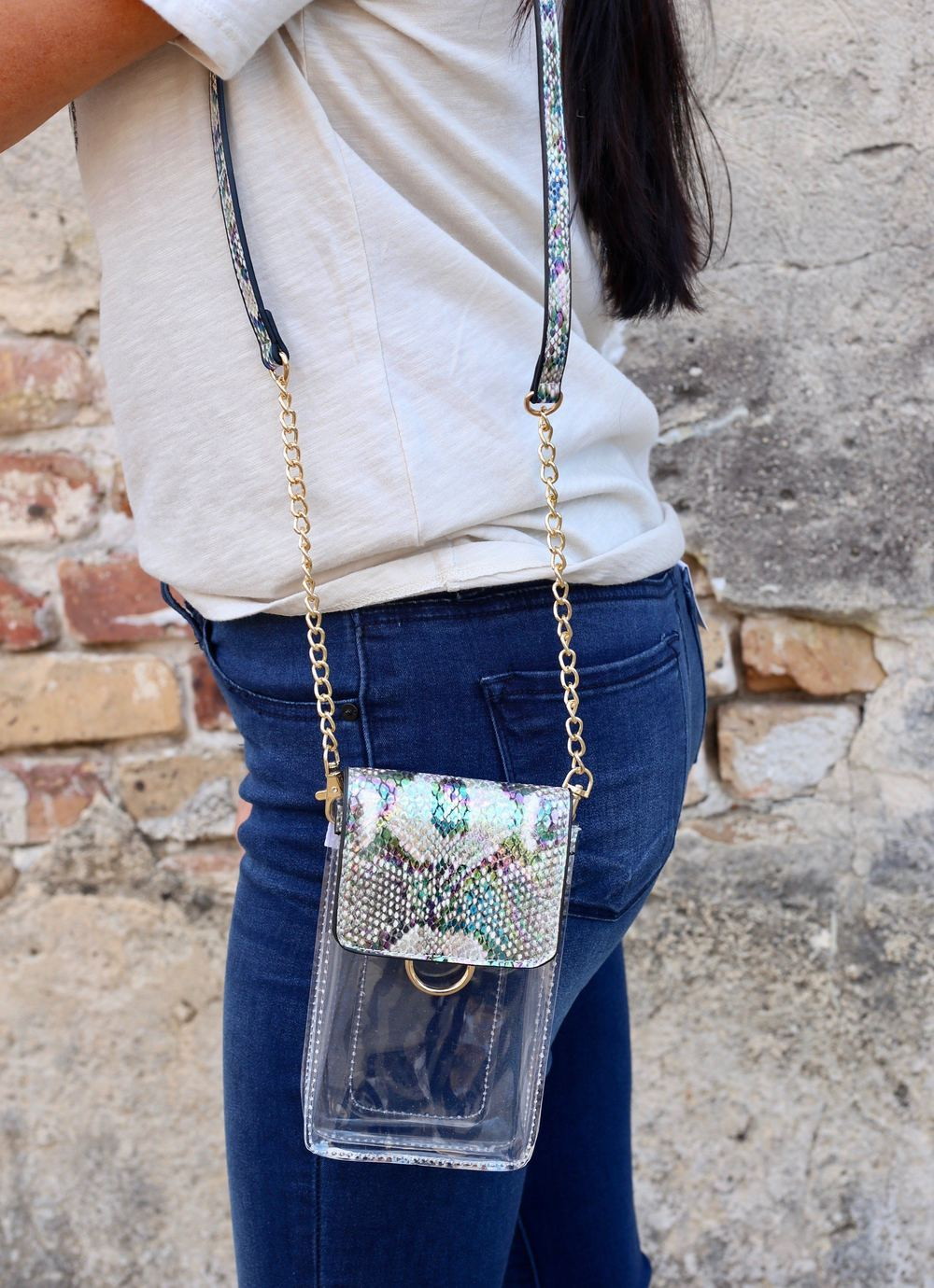 Sideline Snake Multi Hologram Clear Cell Phone Crossbody - Caroline Hill
