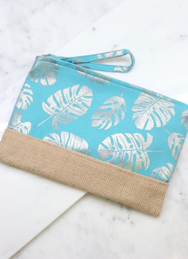 Silver Palm Pouch With Jute Trim Turquoise - Caroline Hill