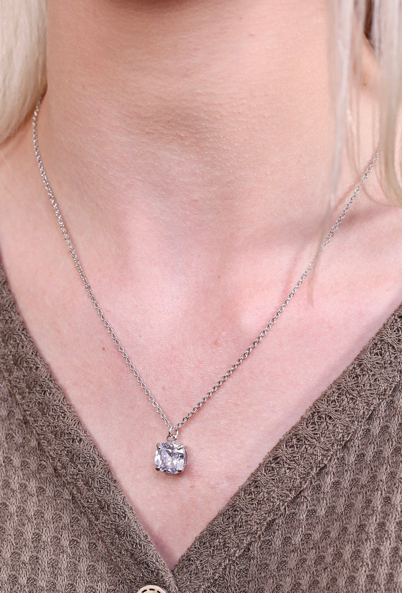 Simple Silver Cushion Cut Necklace - Caroline Hill