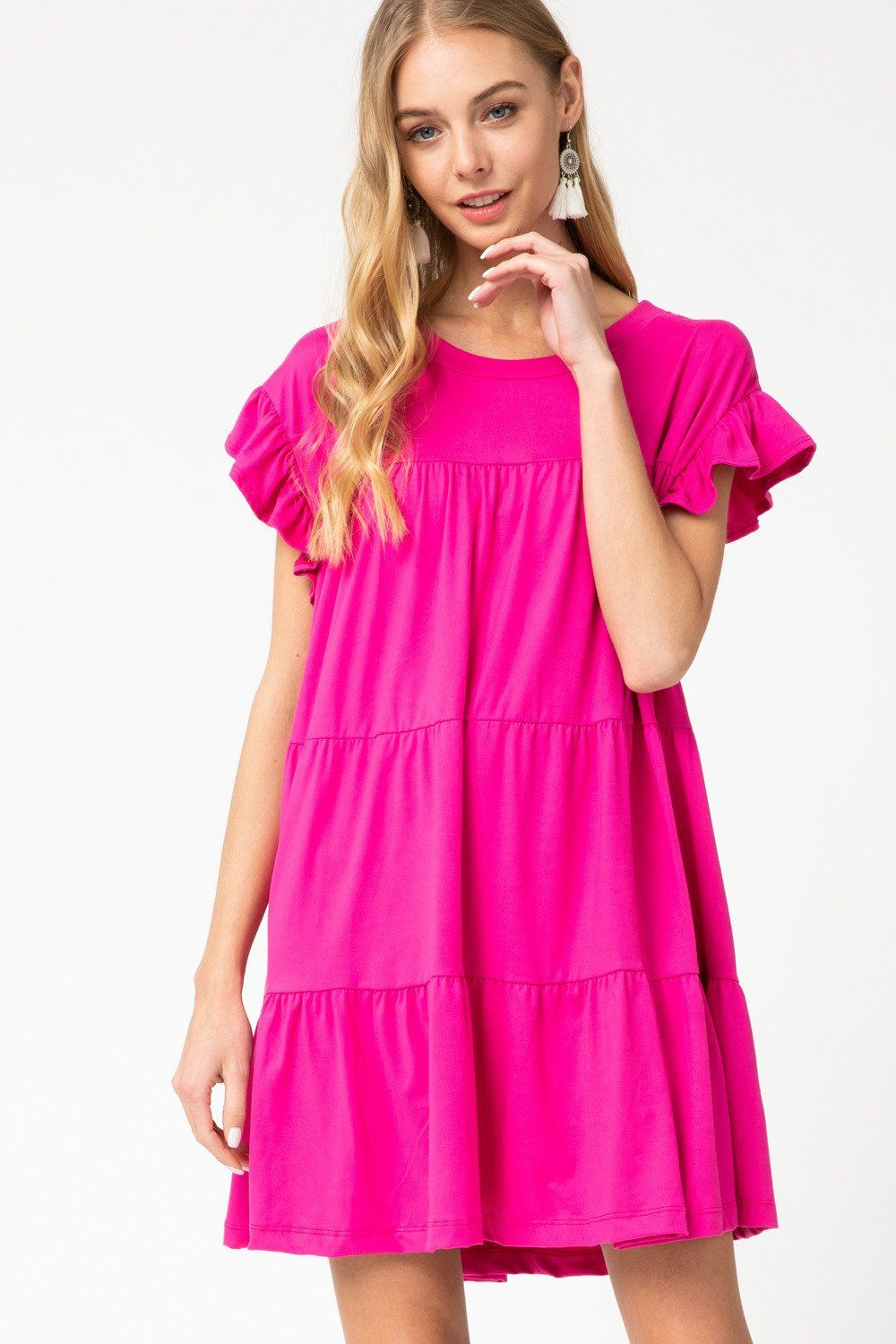 Simply Soft Fuschia Ruffle Dress - Caroline Hill