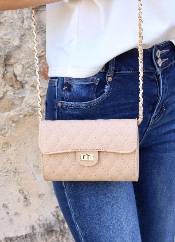 Sitka Quilted Crossbody Tan - Caroline Hill