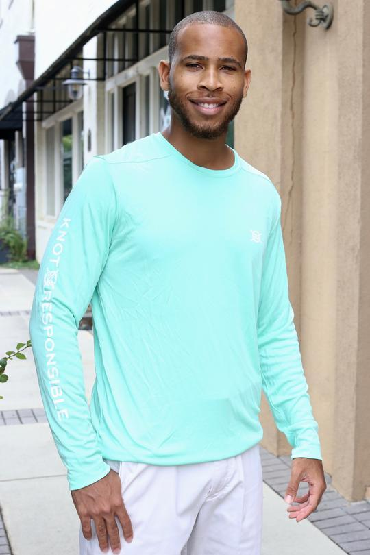 Sleeve Logo Performance Long Sleeve - Seafoam - Caroline Hill