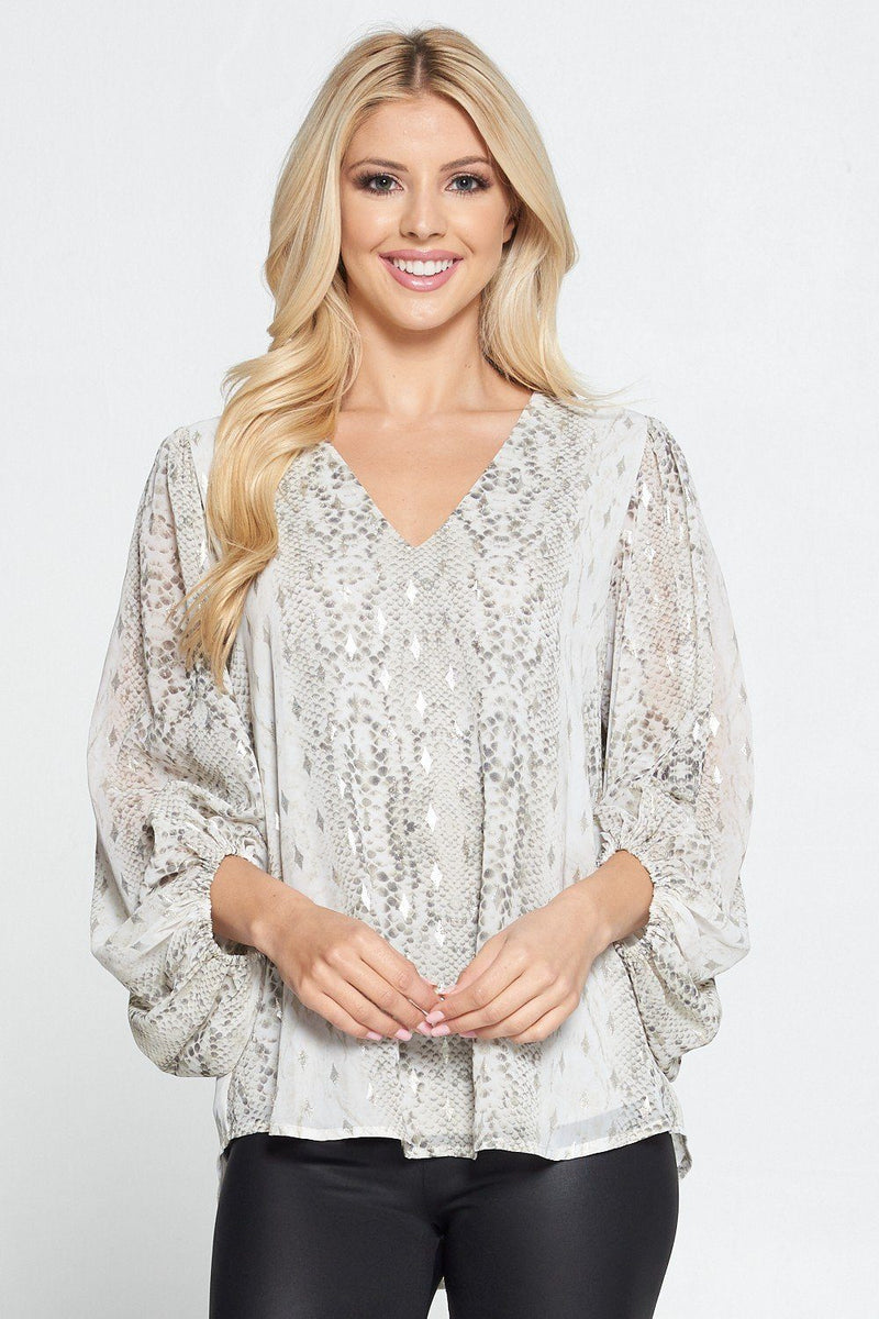 Snake It Away White Printed Top - Caroline Hill