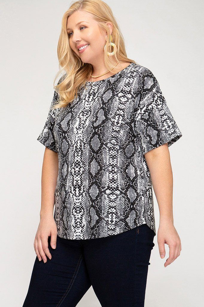 Snake It Up Gray Printed Pretty Plus Top - Caroline Hill