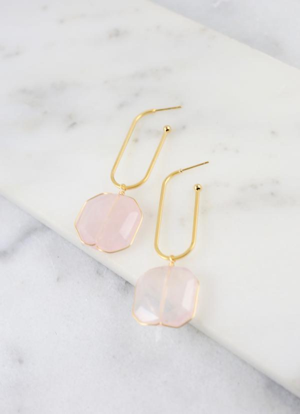 Solange Rose Quartz Oval Earring - Caroline Hill