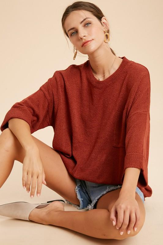 Something To Talk About Rust Thin Knit Sweater - Caroline Hill