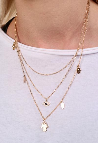 Spence Triple Layer Charm Necklace - Caroline Hill