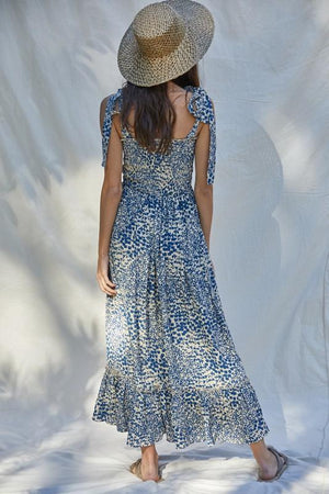 Spring Fields Blue Printed Maxi Dress - Caroline Hill