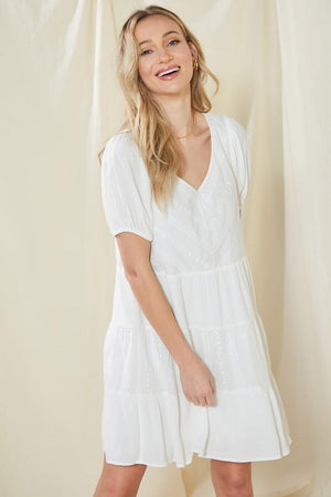 Spring Fling Eyelet White Dress - Caroline Hill