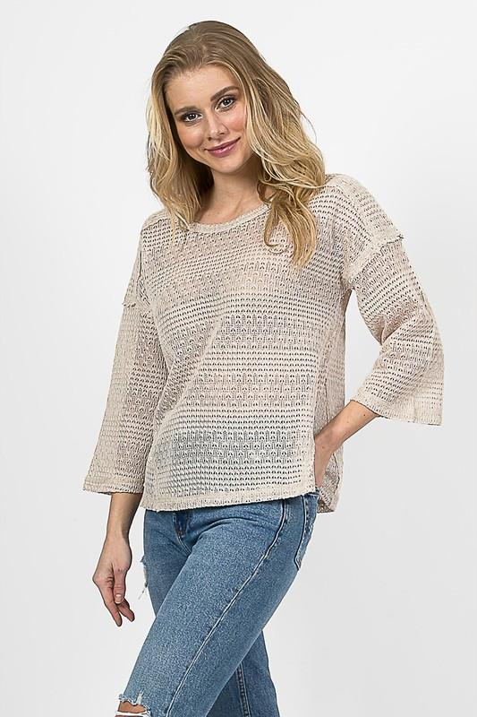 Spring On My Mind Taupe Sweater - Caroline Hill