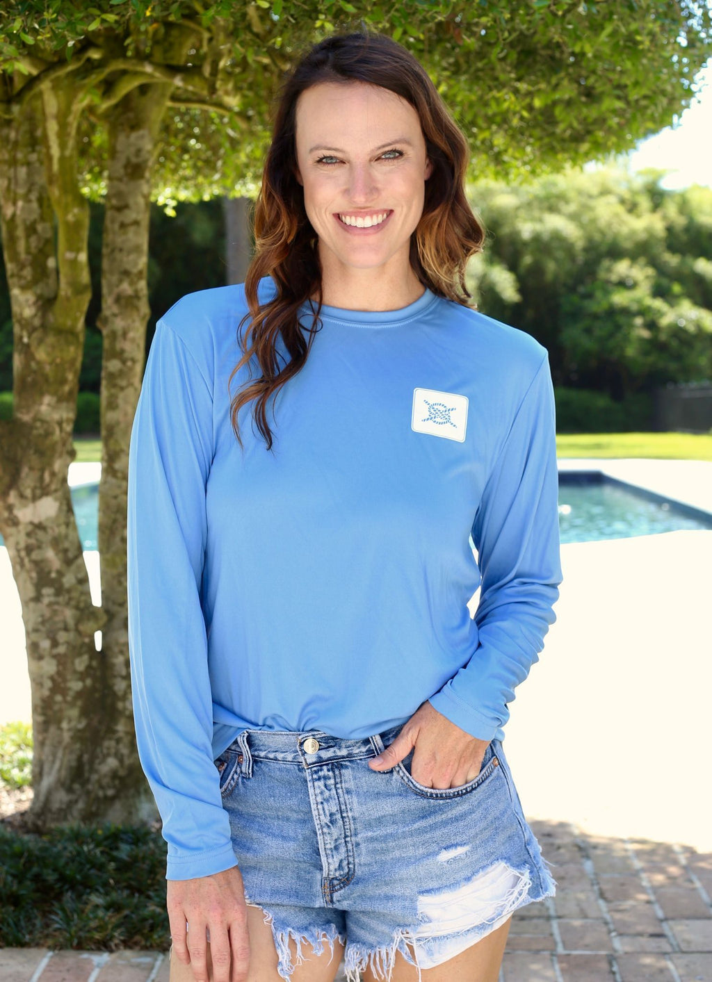 Stacked Logo Performance Long Sleeve Shirt- Carolina Blue - Caroline Hill
