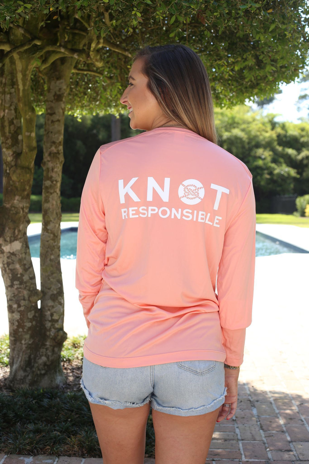 Stacked Logo Performance Long Sleeve Shirt- Coral - Caroline Hill