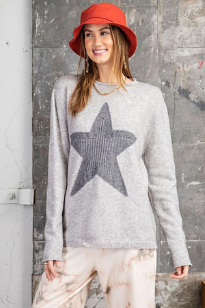 Star Girl Gray Sweater - Caroline Hill