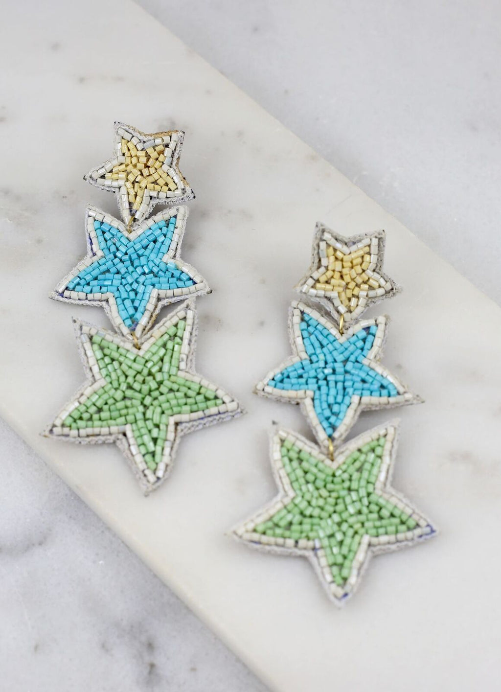 Stargazer Beaded Three Star Post Earring Blue - Caroline Hill
