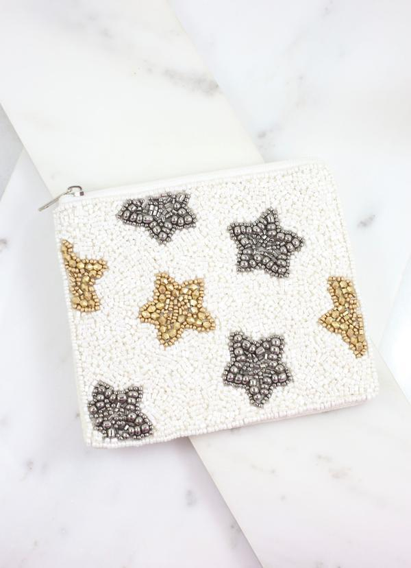 Steele Star Beaded Pouch White - Caroline Hill
