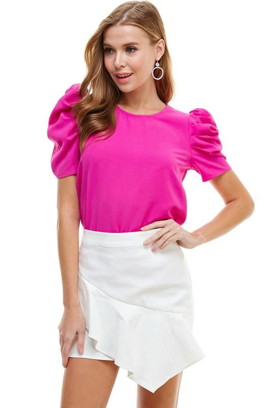 Step It Up Puff Magenta Short Sleeve Top - Caroline Hill