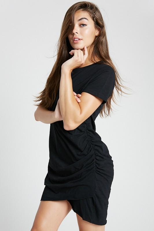Still Dreaming Black Ruched Knit Dress - Caroline Hill