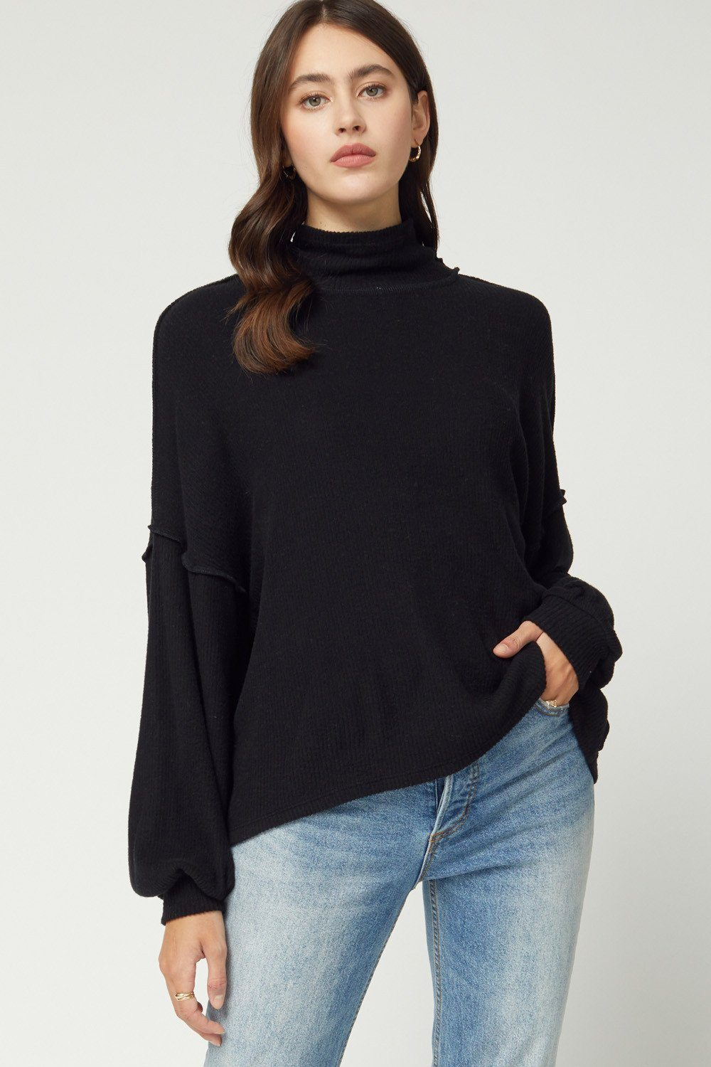 Still Dreaming Ribbed Black Sweater - Caroline Hill