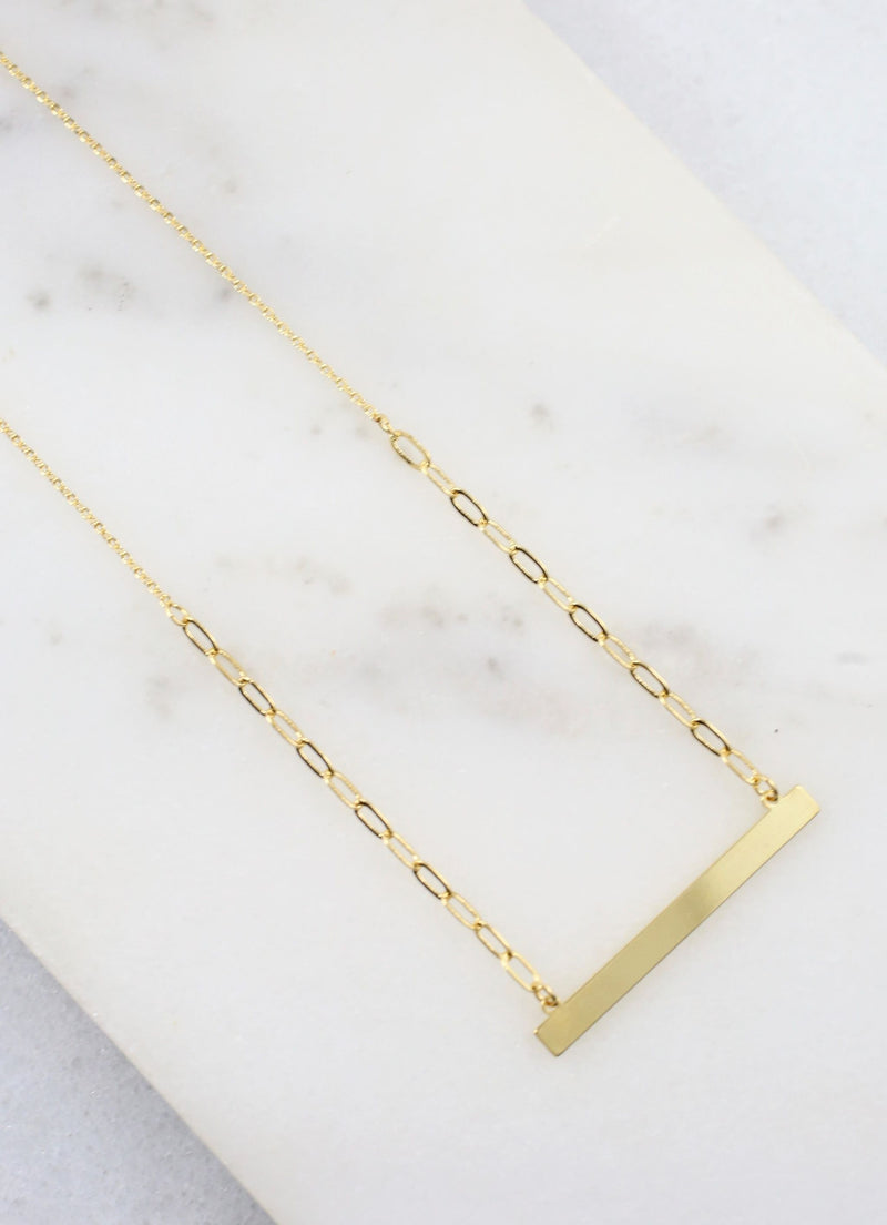 Story Bar Necklace Gold - Caroline Hill