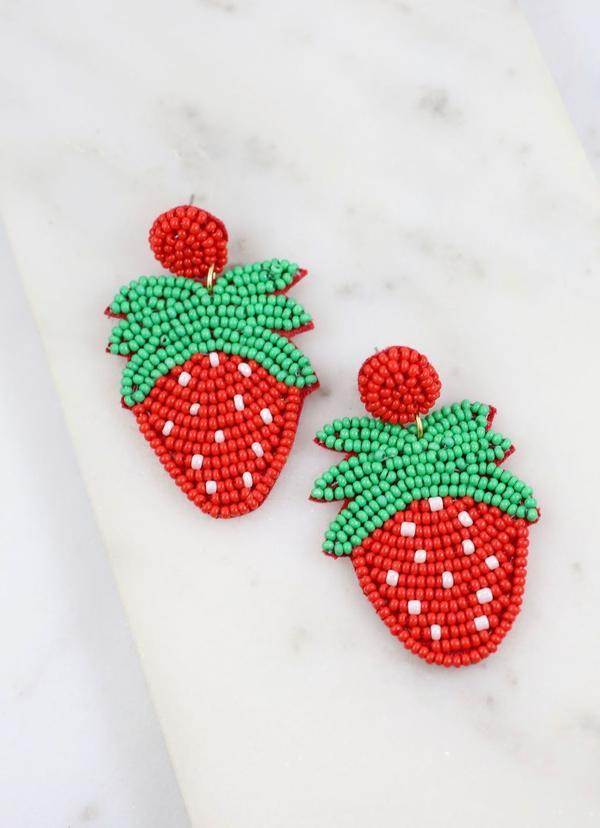 Strawberry Patch Beaded Earring Red - Caroline Hill