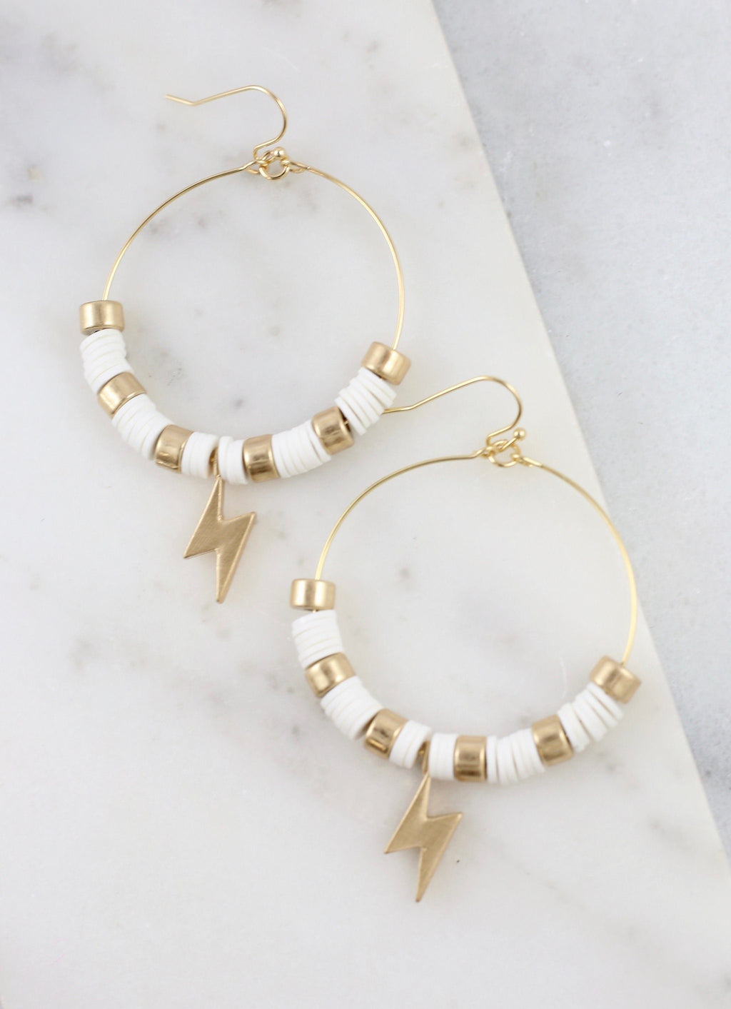 Strike Out White Disc Lightning Bolt Earring - Caroline Hill