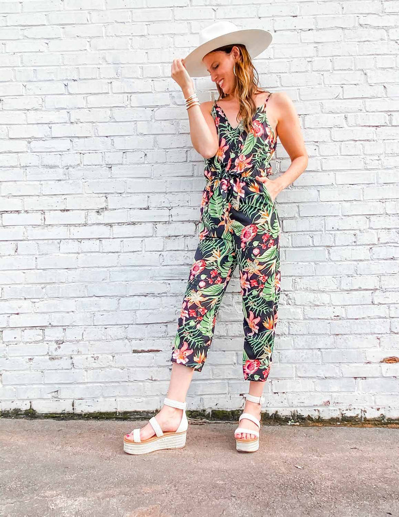 Summer Days Black Tropics Tie Jumpsuit - Caroline Hill