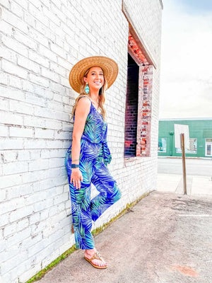 Summer Days Navy Palm Tie Jumpsuit - Caroline Hill