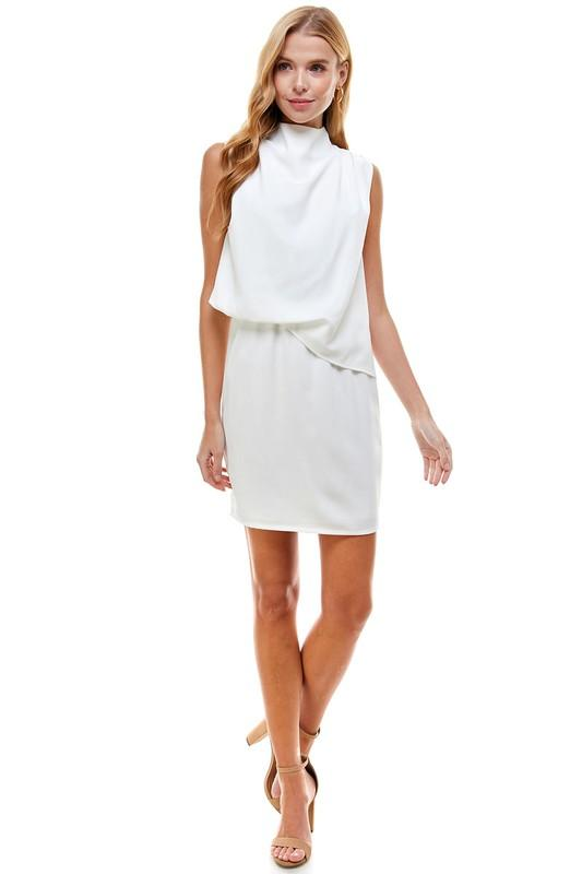 Summertime White High Neck Dress - Caroline Hill