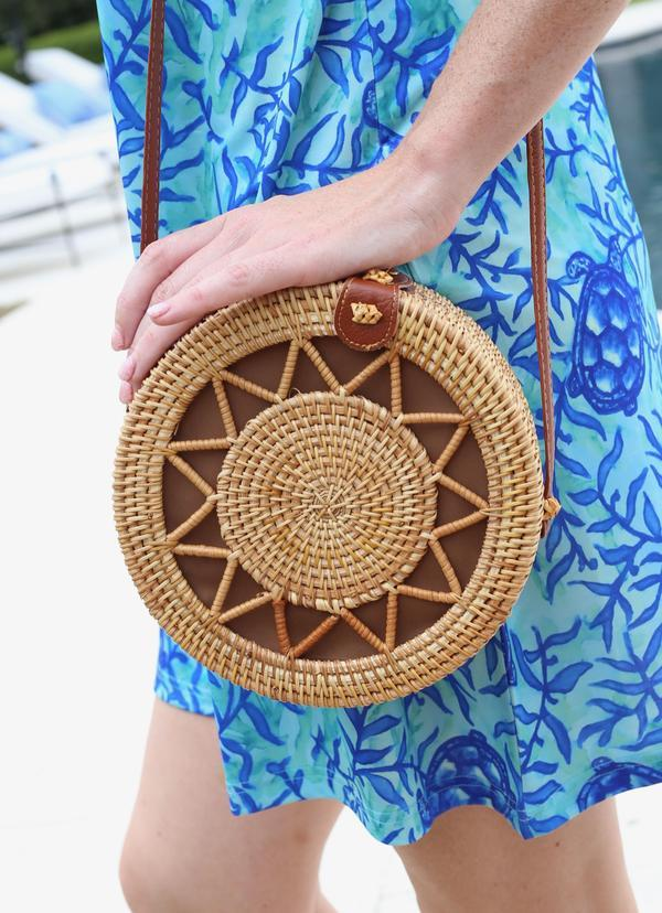 Sunburst Round Straw Crossbody - Caroline Hill