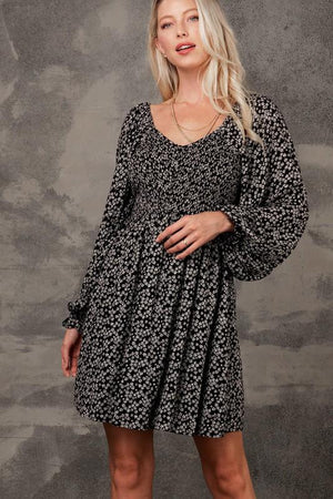 Sunday Drive Black Floral Smocked Dress - Caroline Hill