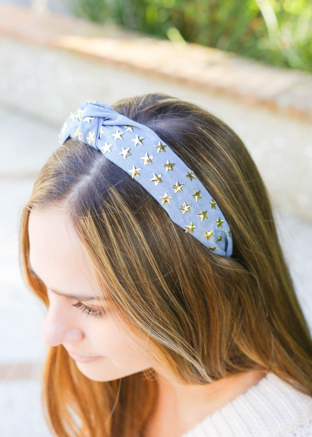 Sunni Denim Star Studded Headband - Caroline Hill