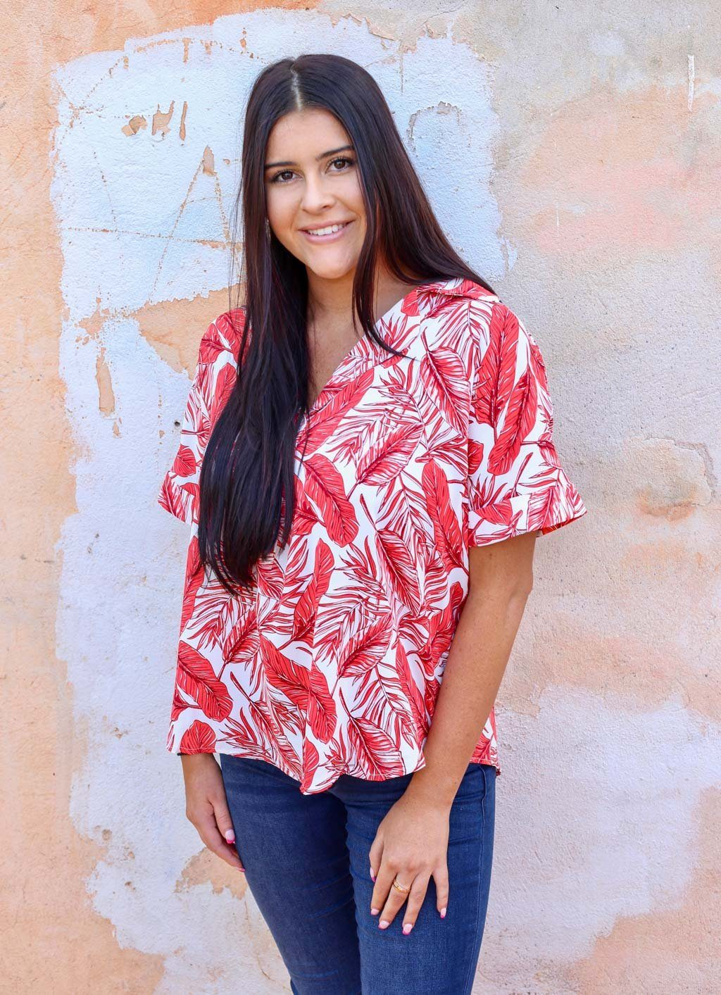 Sunset Beach Red Coconut Grove Collared Top - Caroline Hill