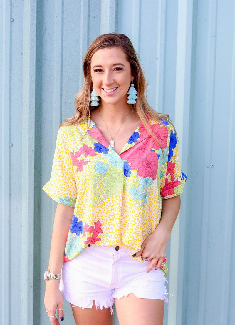 Sunset Beach Tropical Yellow Leopard Collared Top - Caroline Hill